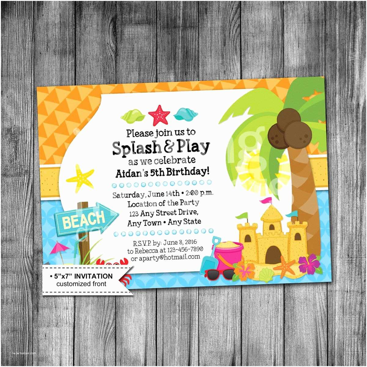 Beach Birthday Invitations Kids Beach Birthday Invitation