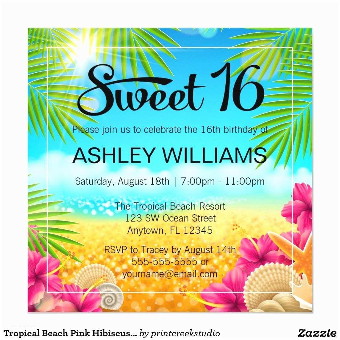 Beach Birthday Invitations Tropical Pink Hibiscus Sweet 16 Card