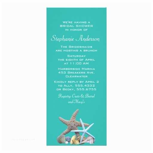 "Beach Bridal Shower Invitations Beach Bridal Shower Starfish Invitations 4"" X 9 25"