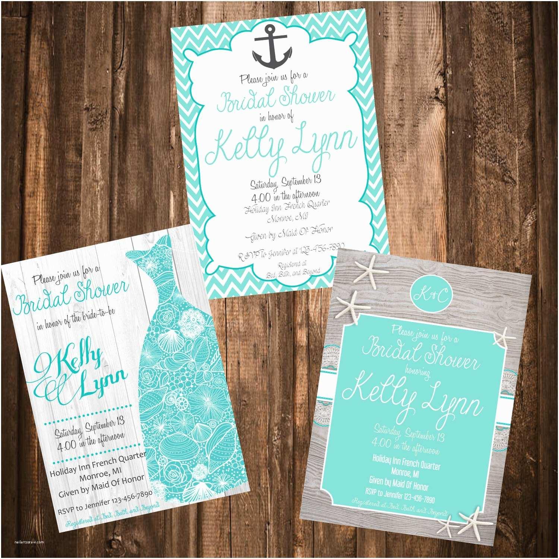 Beach Bridal Shower Invitations Beach theme Bridal Shower Invitation 3 Designs to Choose