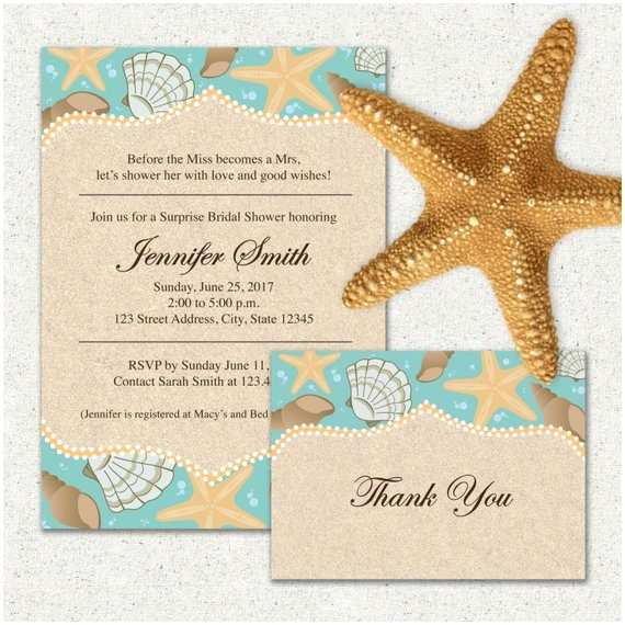 Beach Bridal Shower Invitations Beach themed Bridal Shower Invitation and or Thank You Card