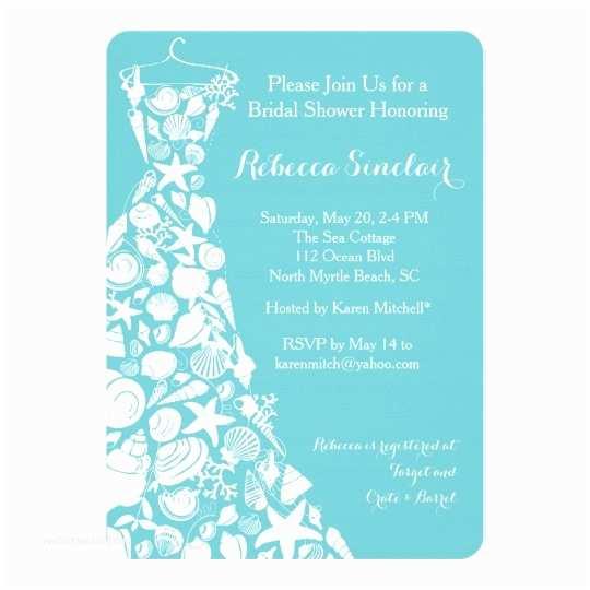 Beach Bridal Shower Invitations Bridal Shower Invitation Beach Sea Shell Dress Card