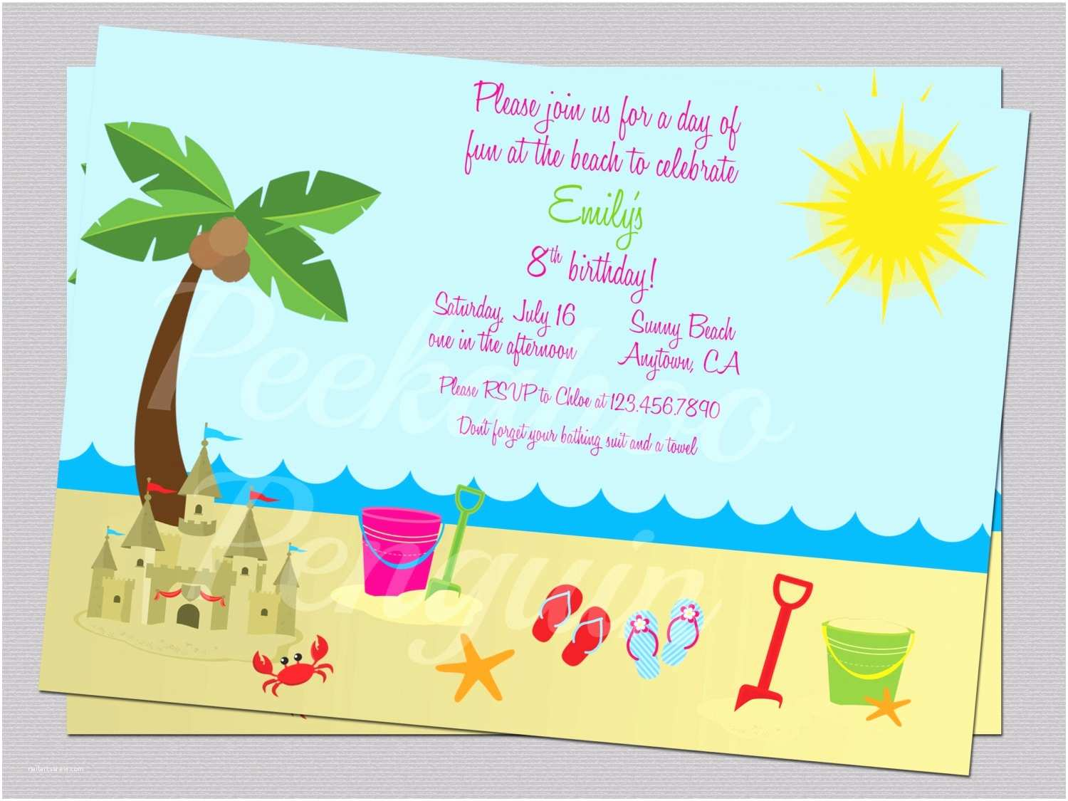 Beach Party Invitations Beach Birthday Cards Elegant Unicorn Beach Birthday Card