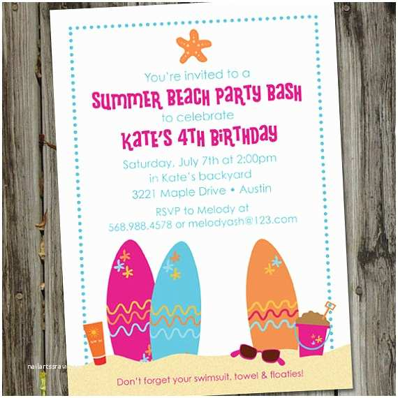 Beach Party Invitations Beach Party Bash Druckbare Schwimmen Party Geburtstag