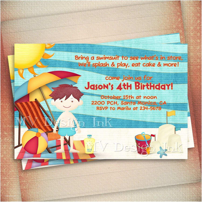 Beach Party Invitations Theme Birthday