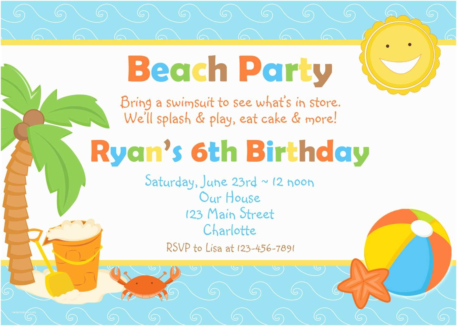 picture regarding Beach Party Invitations Free Printable identified as 46 Seaside Occasion Invites Nailartssravi