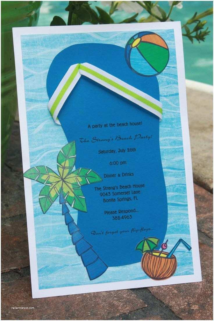 Beach Party Invitations Homemade Beach themed Bridal Shower Invitations