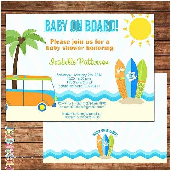 Beach theme Baby Shower Invitations Baby On Board Surf theme Baby Shower Invitation Beach