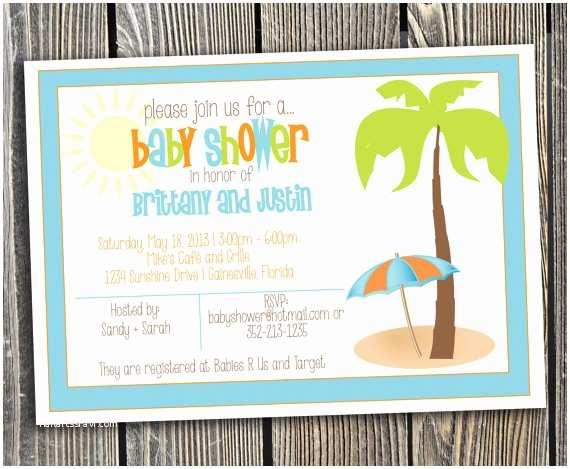 Beach theme Baby Shower Invitations Beach Baby Shower Invitations