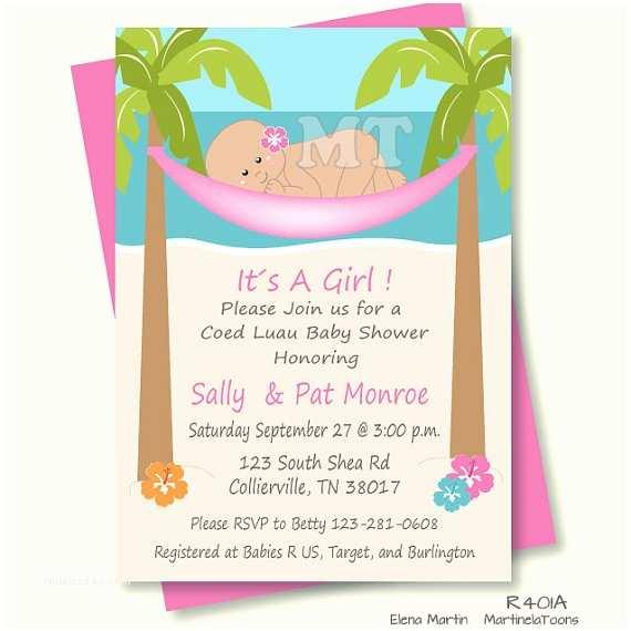 Beach theme Baby Shower Invitations Diy Tropical Baby Shower Invitation Hawaiian Baby Girl