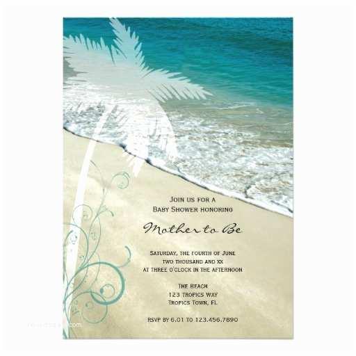 "Beach theme Baby Shower Invitations Tropical Beach Baby Shower Invitation 5"" X 7"" Invitation"