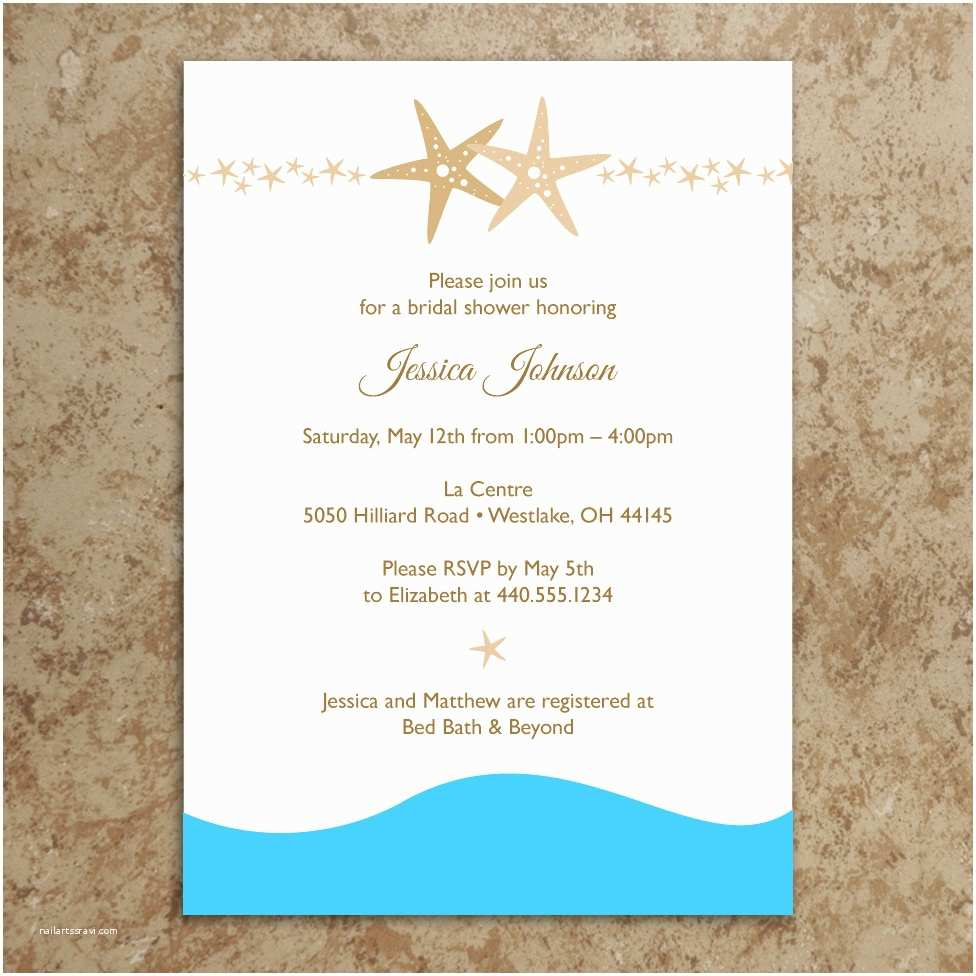 Beach theme Bridal Shower Invitations 5 Best Of Beach Wedding Invitations Printable