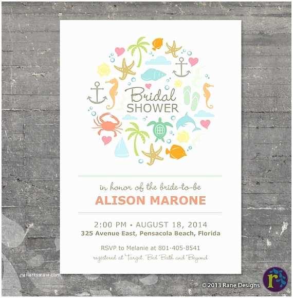 Beach theme Bridal Shower Invitations Beach Bridal Shower Ideas