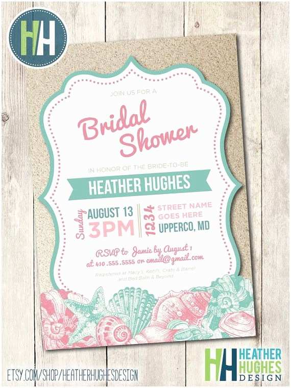 Beach theme Bridal Shower Invitations Beach Bridal Shower Invite Printable Beach Invitation