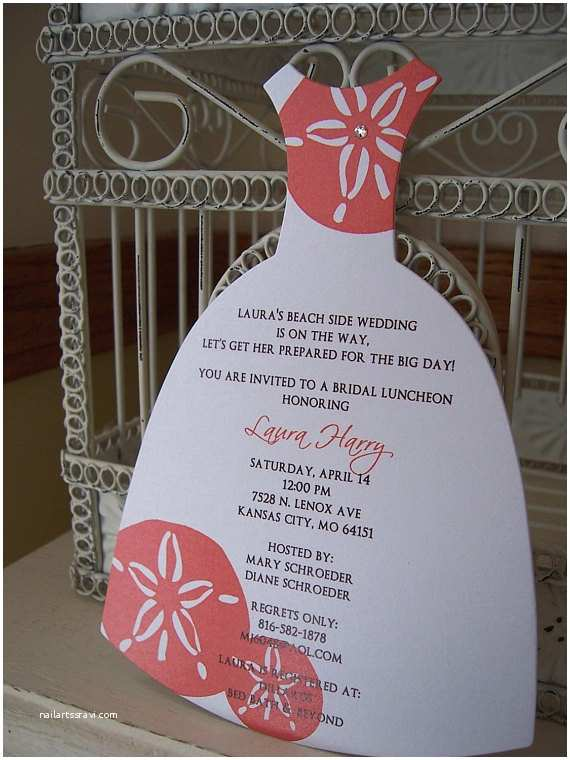 Beach theme Bridal Shower Invitations Beach theme Sand Dollar Bridal Shower Invitation Custom