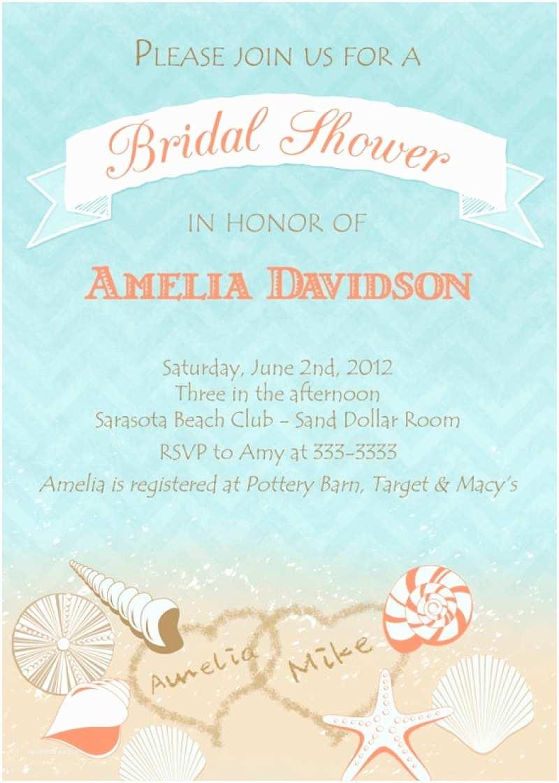 Beach theme Bridal Shower Invitations Gorgeous Free Printable Beach Wedding Invitations