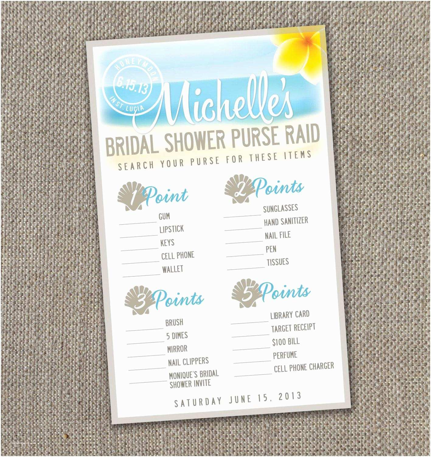 Beach theme Bridal Shower Invitations Perfect Library Card Invitation Template Ideas Example