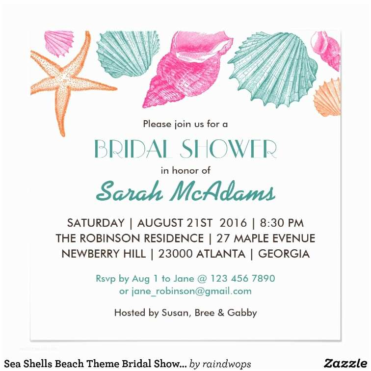 Beach theme Bridal Shower Invitations Sea Shells Beach theme Bridal Shower Invitation