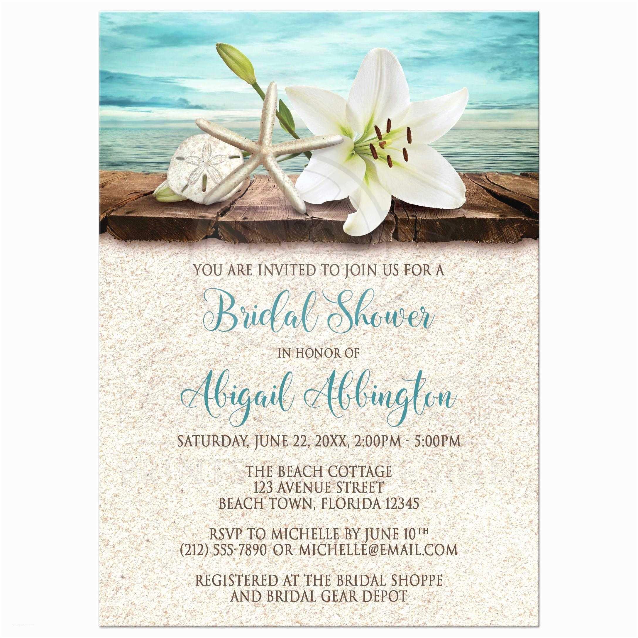 Beach themed Bridal Shower Invitations Bridal Shower Invitations Beach Lily Seashells and Sand