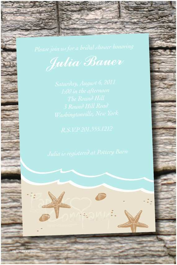 Beach themed Bridal Shower Invitations Distant Shores Beach Bridal Shower Baby by Paperheart Pany