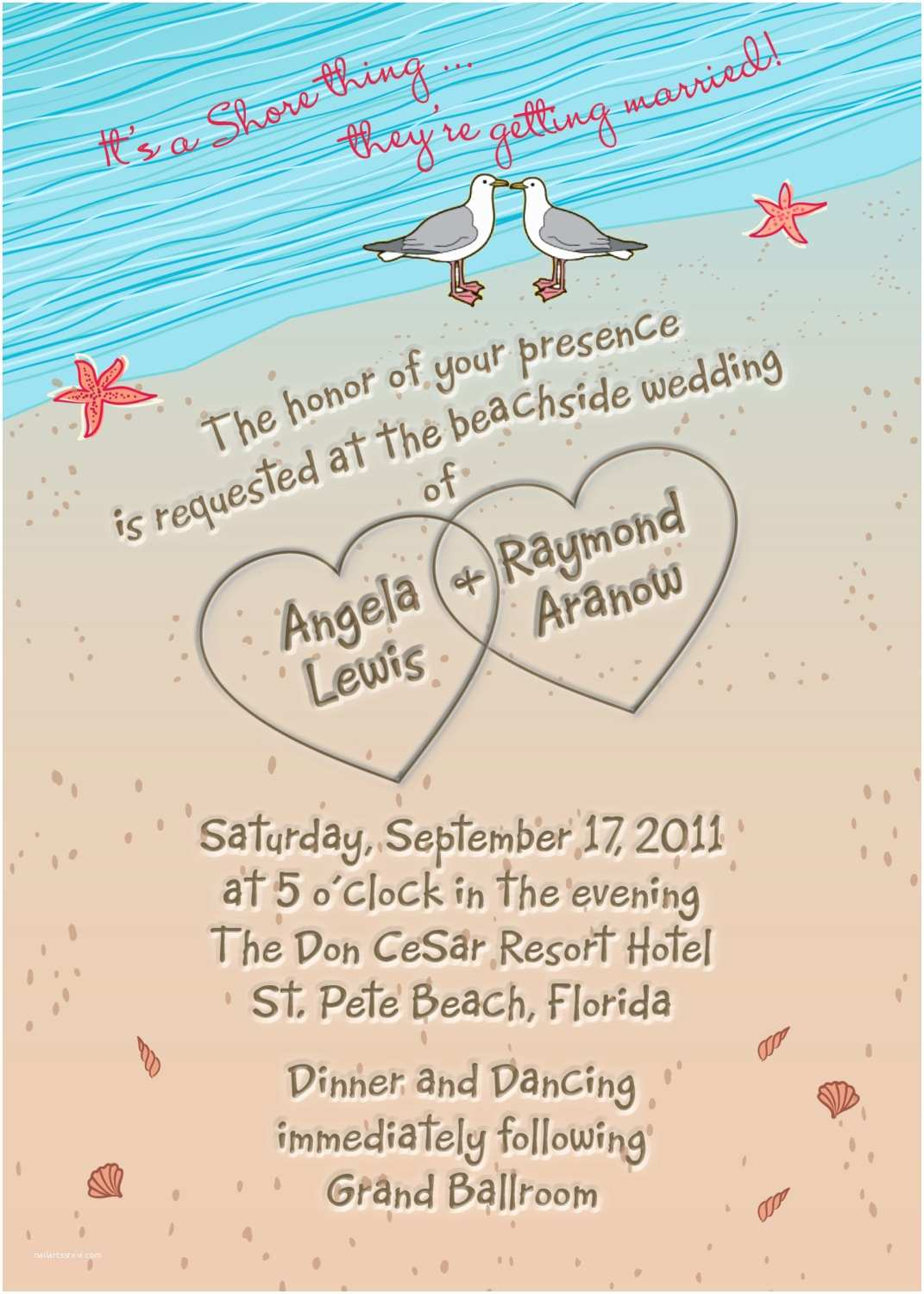 Beach Wedding Invitation Sample Beach Wedding Invitation with Hearts In Sand Seagulls and