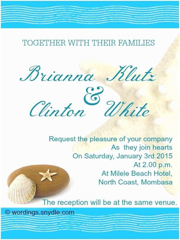 Beach Wedding Invitation Sample Beach Wedding Invitation Wording Samples Wordings and