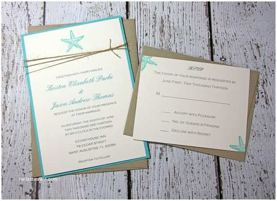 Beach Wedding Invitation Sample Items Similar to Sample Starfish Wedding Invitations Beach