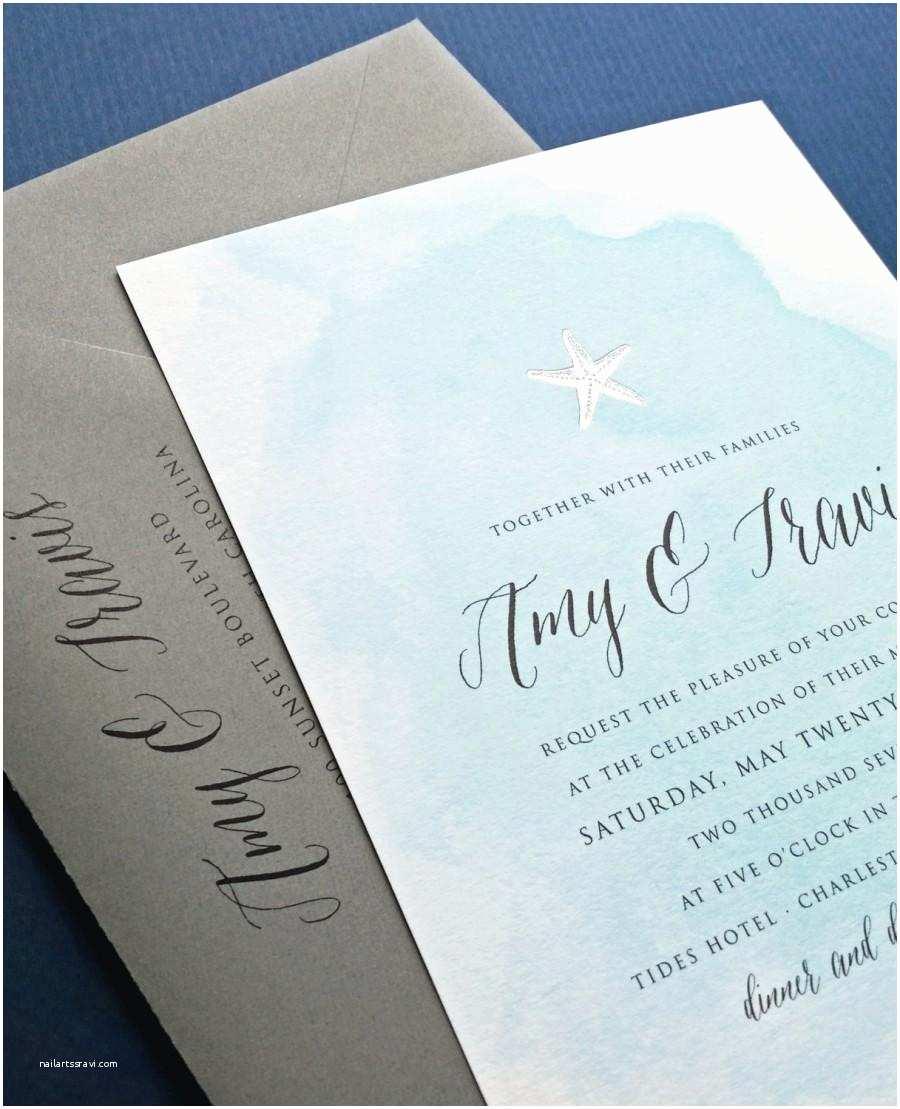 Beach Wedding Invitation Sample New Amy Blue Watercolor Beach Wedding Invitation Sample