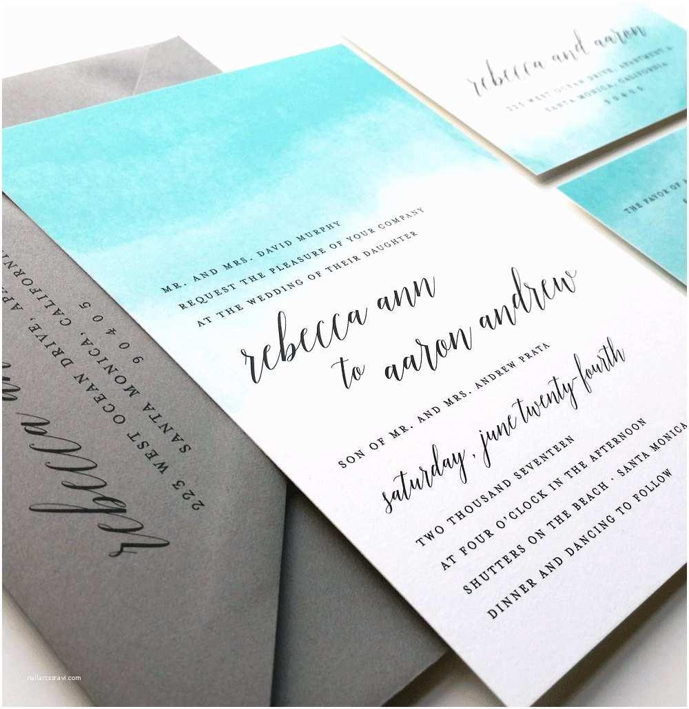 Beach Wedding Invitation Sample Rebecca Teal Watercolor Wedding Invitation Sample