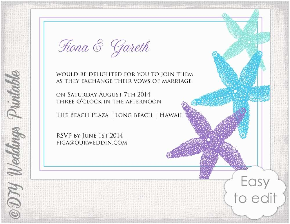 Beach Wedding Invitation Templates Beach Wedding Invitation Template Starfish