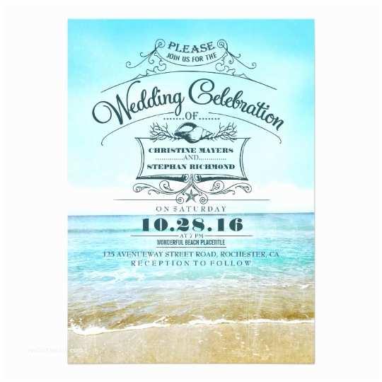 Beach Wedding Invitation Wording Retro Beach Wedding Invitations Blue Ombre Seaside