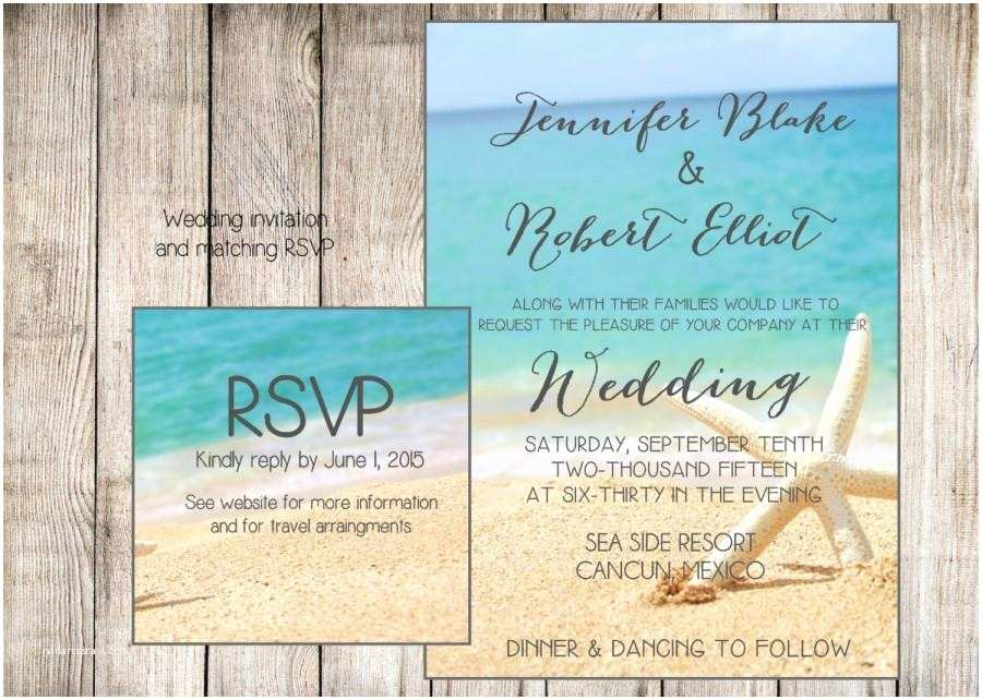 Beach Wedding Invitations Beach Wedding Invitation Starfish and Sand at the Beach