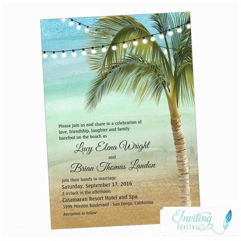 Beach Wedding Invitations Beach Wedding Invitation Tropical Wedding Invitation Palm