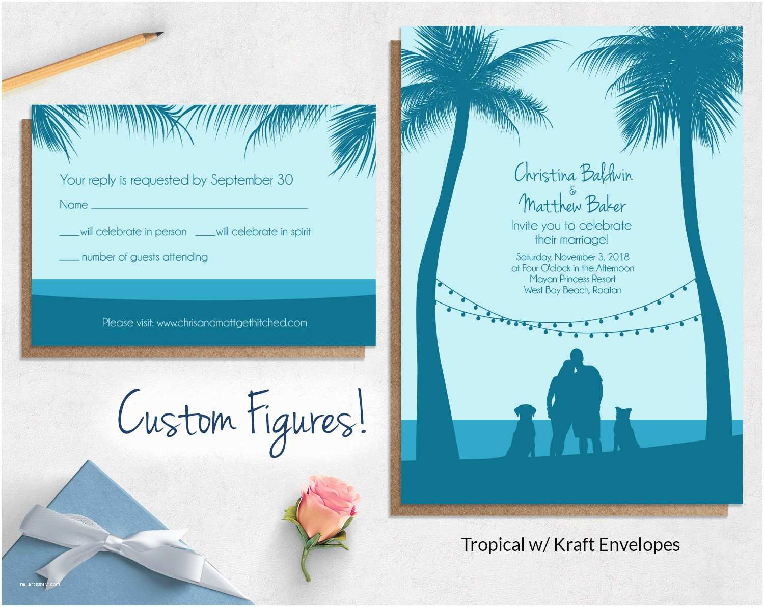 Beach Wedding Invitations Custom Drawing Beach Wedding Invitations Wild Blue Weddings