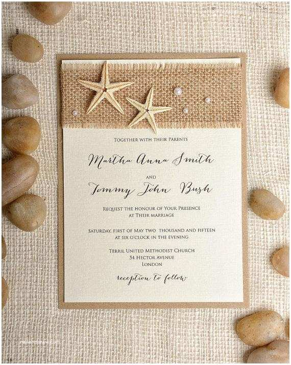 Beach Wedding Invitations Custom Listing 100 Starfish Wedding Invitation Beach