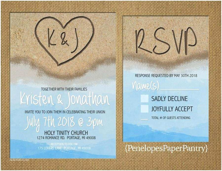 Beach Wedding Invitations Destination Beach Wedding Invitation Heart In the Sand