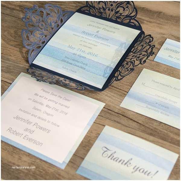 Beach Wedding Invitations Kits Beach Blue Stripes Summer Laser Cut Wedding Invitation
