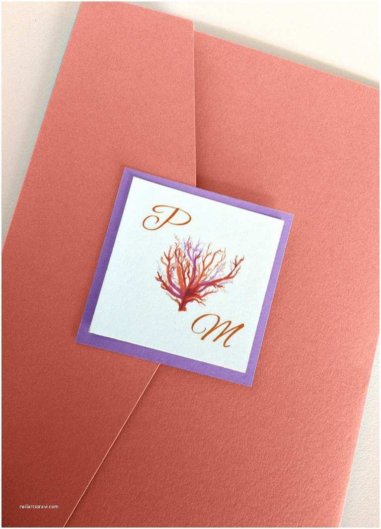 Beach Wedding Invitations Kits Beach Wedding Invitation Kit Coral Wedding by