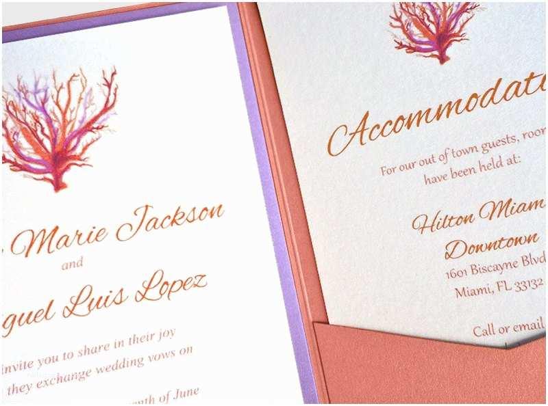 beach wedding invitation kit coral