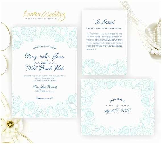 Beach Wedding Invitations Kits Sea theme Wedding Invitation Kits Printed Beach Wedding