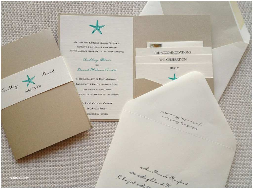 Beach Wedding Invitations Kits Starfish Wedding Invitation Kit Invitation Card Collection