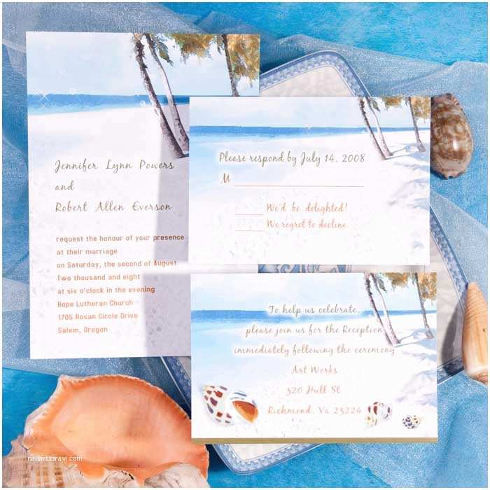 Beach Wedding Invitations Modern Blue Beach theme Printable Online Destination