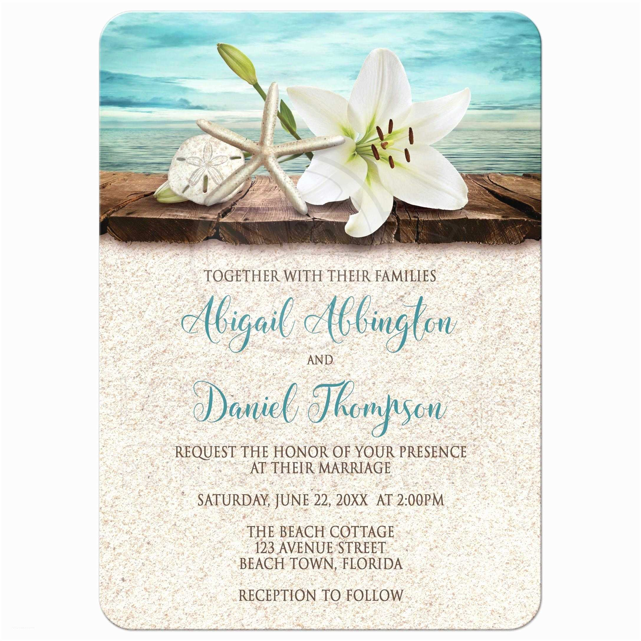 Beach Wedding Invitations Online Wedding Invitations Beach Lily Seashells and Sand