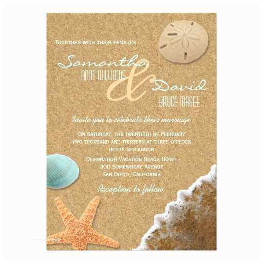 Beach Wedding Invitations Sand and Shells Beach Wedding Invitation
