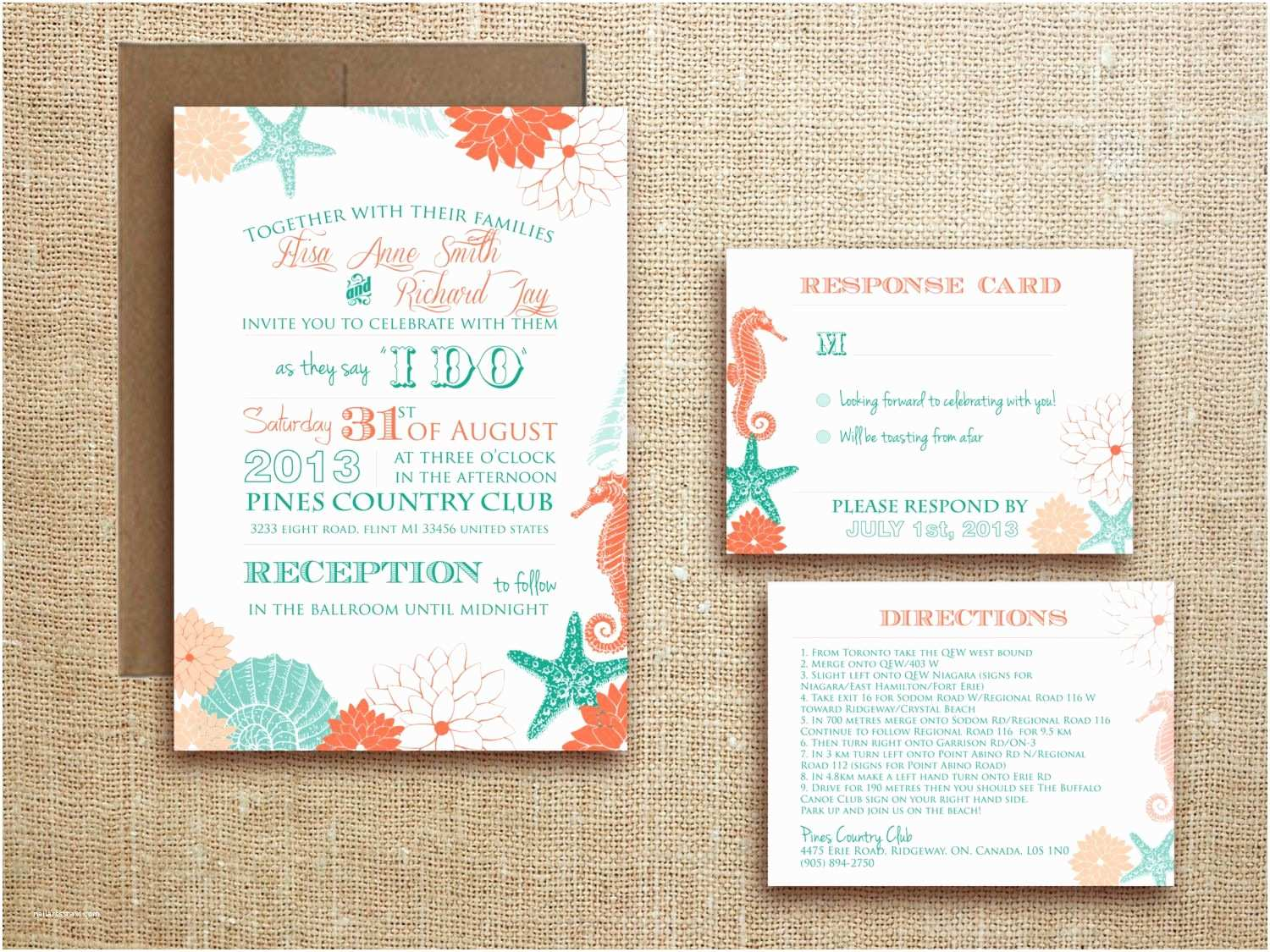 tropical beach themed wedding invitations