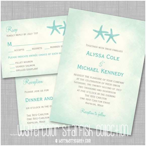 Beach Wedding Invitations Watercolor Starfish Beach Wedding Invitation