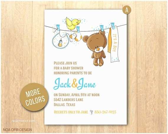 Bear Baby Shower Invitations Baby Shower Invitation Baby Boy Invitation Teddy Bear Baby