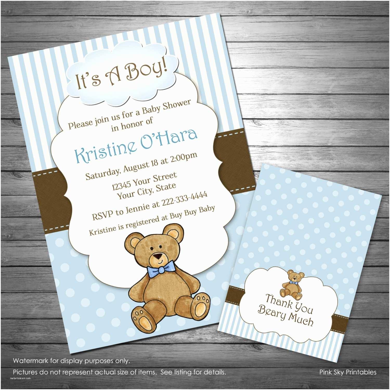 Bear Baby Shower Invitations Boy Teddy Bear Baby Shower Invitation Teddy Bear Thank You