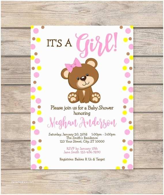 Bear Baby Shower Invitations Girl Teddy Bear Baby Shower Invitation Custom Pink Dots