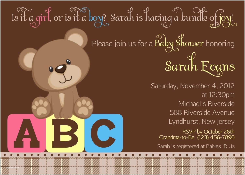 Bear Baby Shower Invitations Teddy Bear Abc Invitation Personalized by Afairytalebeginning